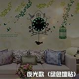 Y-Hui Mute Art Deco Tisch Wand Tisch Wohnzimmer Nachtlicht Wanduhr Rocking Bird Wanduhr Quarzuhr, 20 Zoll, Duo Jan 17 neue Night Light (Der schwarze Wandhalterung
