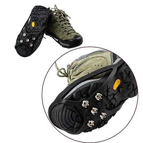 QHGstore 1 Paar 5 Zähne PE Eis Schnee Steigeisen Anti Blockier System Boot Überschuhe Spike Klampen Eis Greifer für Outdoor Klettern Wandern Gehen M Schwarz
