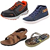 #7: Earton Men Combo Pack of 4 Sports,Casual Shoes With Sandals & Slipper