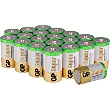 Batterien D / Mono Super Alkaline 20 Stück Monozellen im Super Sparpack [besonders langlebig und auslaufsicher, Markenprodukt GP Batteries)