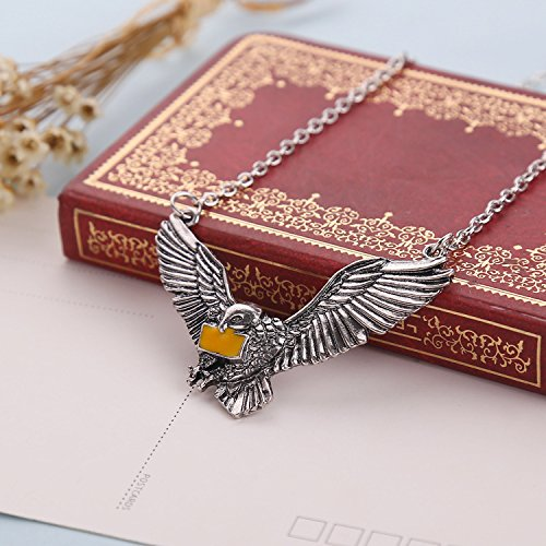 Yellow Chimes Harry Potter Hedwig Post Owl Messenger with Letter of Admission Silver Pendant for Boys and Girls (Unisex)