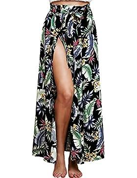 BLACKMYTH Mujer Verano Flor Impresion Maxi Falda Con Split Boho Tie Up Alta Playa Wrap Saya Cover Up