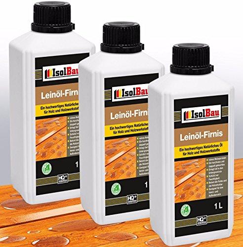 3 Liter Doppelt Gekocht NATUR Holzschutz LEINÖL- FIRNIS Holzöl Leinölfirnis Holz Möbel Lasur Holzschutz Holzpflege Harzfrei Lackfirnis Harzfrei
