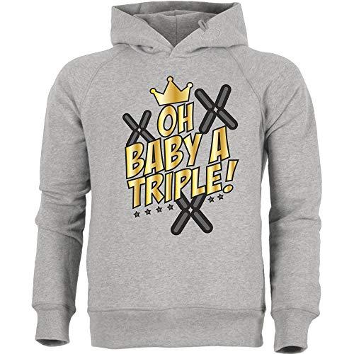 Oh Baby a Triple! - Stanley Hoodie, Heather Grey, Gr. XS/164 (Gaming-hoodie Mlg)