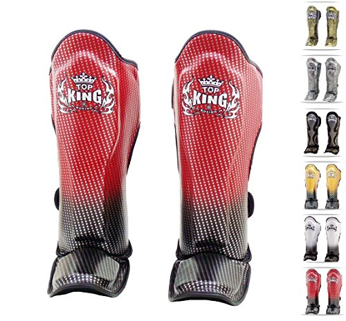 Top King Muay Thai Shin Guards Fancy TKSGEM Empower Creativity TKSGSS Super Star TKSGSS Super Snake Color: Black White Silver Red Gold size: S M L XL (Super Star - red, Large)