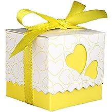 v-dragon 100Bomboniere Candy scatole scatole regalo con nastri Yellow