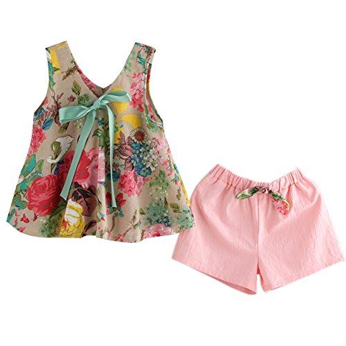 Hankiki Kinder Baby Mädchen Sommer Kleidung drucken Quaste Ohne Arm Baumwolle Tops Shirt + Shorts Kleiderset (Date Kostüme Double)
