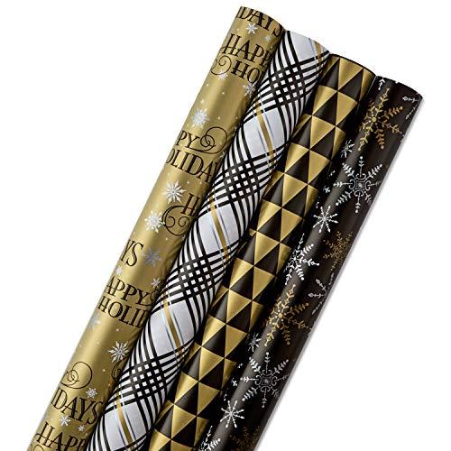versible Quad-Pack Geschenkpapier, Papier, schwarz/goldfarben ()
