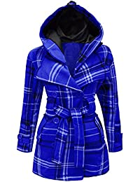 Candy Floss New Ladies Belted Button Check Coat Womens Hooded Jacket TOP Plus Sizes 8-20 [Black, 10]