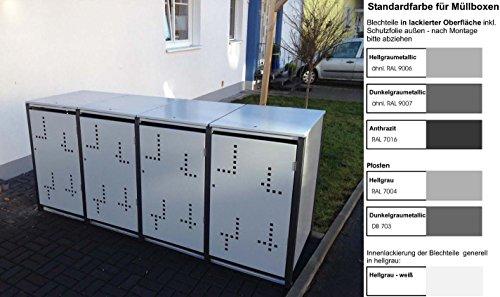 Metall Mülltonnenbox für 4 Tonnen RAL grau / anthrazit, Müllcontainer, Müllbox. Made in Germany. # Größe: Für 4 Tonnen bis 240 l # Farbe: Farbenauswahl per EMail angeben # Dach: Mit Klappdach # Stanzung: Serie