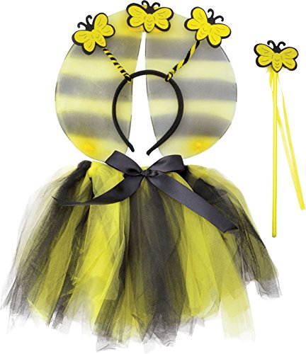(Bumble Bee TuTu, Wings, HBand, Wand Set costume Kids Fancy Dress)