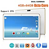 amhomely '10,1Pouces HD IPS Touch Tablette PC Téléphone Android Phablet Pad 6.0Dual SIM MTK65921.5GHz Octa 8Core 4Go RAM + ROM 64Go WiFi 3G Bluetooth Mic OTG GPS Google Store 8000mAh Weiß