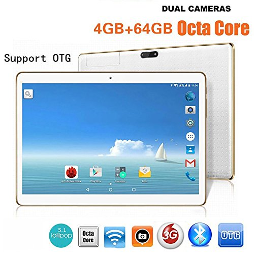 "10.1 "" HD 2560 * 1600 3G Tablet PC Android 6.0 MTK6592 2.0GHZ Octa Core Dual SIM 4GB RAM+64GB ROM, 8.0 MP+13.0 MP Dual Camera, Blutooth4.0, Mic, WIFI,OTG, Play Store,Unlocked Phablet -Black/Wh"