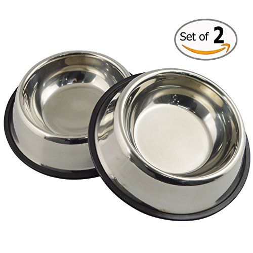 Comedero para perro comederos bebederos platos gatos (acero inoxidable, 2 unidades)