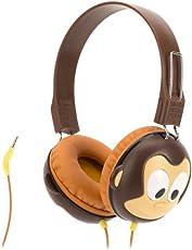 Griffin KaZoo MyPhones Kopfhörer im Affen-Design für Kinder - braun [Lautstärkebegrenzung bei 85dB   Gepolsterte Ohrpads   3,5mm Klinkenkabel] - GC40290