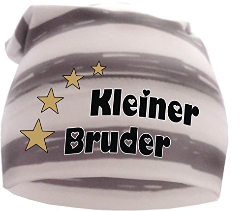 gestreifte Beanie Sommerfarben (Farbe grau-weiss) (Gr. 1 (56-74) Kleiner Bruder (Gestreifte Mütze Baby)