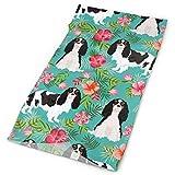 Cavalier King Charles Spaniel Dog Fabric - Tricolored Hawaiian Tropical Florals - Turquoise Headbands Bandana Cap Scarf Face Mask Neck Gaiter Headwrap Sun UV Protection