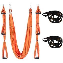 QUBABOBO Hamaca de Yoga Tafetán de Nailon Antigravedad Swing Sling Inversión para Pilates Gimnasia con 664lb Carga (350cm X 150cm)