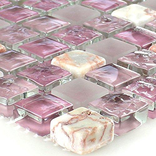 Glas Marmor Mosaik (Glas Marmor Mosaik Fliese Rosa Mix 15x15x8mm)