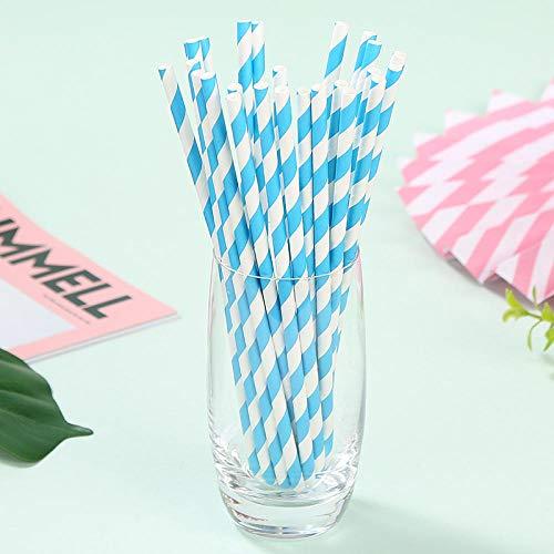 Huizheng Umweltfreundliches Papier Straws_Color umweltfreundliches Papier Straws Dessert Table Wedding Disposable Paper @ Light Blue Spiral Straw 25 Light Blue Dessert