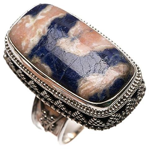 Stargems (TM) Naturel Bleu marine sodalite ancien Motif faite à la main Boho Bague en argent sterling 925, taille S