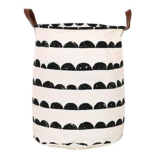 LvLoFit Faltbar Groß Wäschekorb Wäschesack Canvas Leinen Schwerlast Echtleder Griff Laundry Storage Bag 62x50cm (Style 2)
