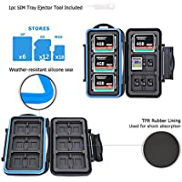 JJC Memory Card Case 36 Slots Carrying Water-Resistant Anti-shock Holder Storage SD SDHC SDXC Compact Flash CF and Micro SD TF Cards Protector Cover with Carabiner & Card Removal Tool