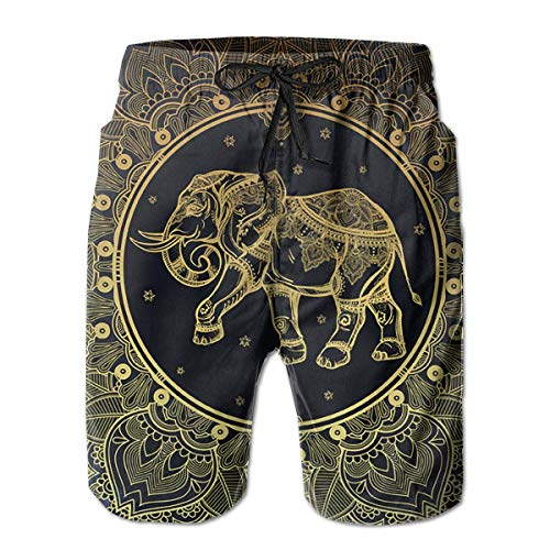 goodsale2019 Elefantes con Mandalas en el Interior Pantalones de Playa para Hombre...