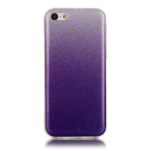 Cover iPhone 5C, Custodia iPhone 5C, ikasus® Colore gradiente Cristallo di lusso di Bling di scintillio lucido diamante scintilla iPhone 5C Case Custodia Cover Lucido scintillio caso di Bling diamante Viola