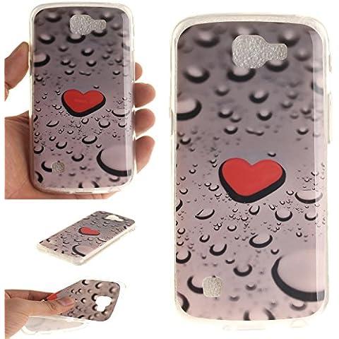 LG K4 Custodia,Cozy Hut Stilosa custodia di design in morbido TPU per LG K4 Cover Morbido TPU Case Trasparente disegnare modello Ultra Sottile Anti Slip Case Copertura Protezione Antiurto per LG K4 - Gocce d'acqua a forma di cuore