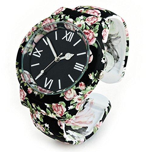 Schwarz Floral verziert Seide Finish schwarz Dial Damen-Armreif Manschette Armbanduhr