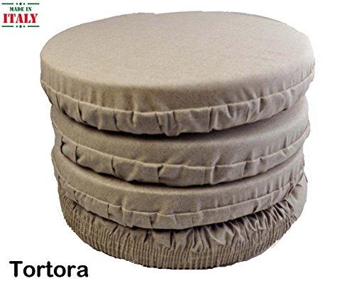 Casa tessile cuscini coprisedia rotondo con fascia elastica panama - tortora, set 4 pcs