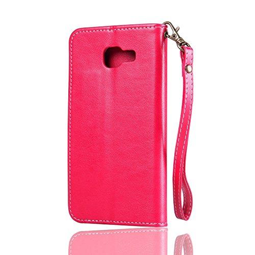 Horizontale Flip Stand Case Retro PU Leder Magnetische Verschluss Shell Abdeckung mit Lanyard & Card Slots für Samsung Galaxy A3 2017 ( Color : White ) Red