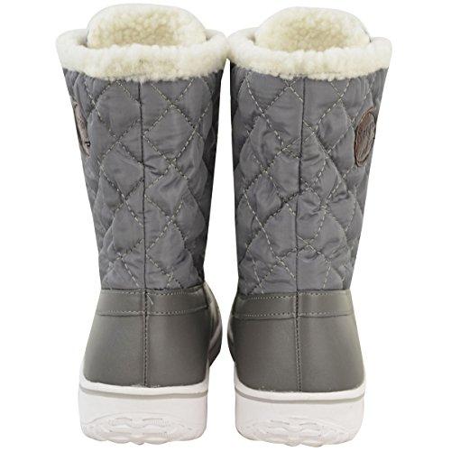 Damen Schnee Ski Stiefeletten Winter Regen Thermo Voll Kunstpelz Futter Größe Grau Kunstleder