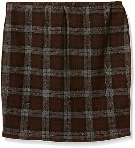 New Look 915 Girl's Maisey Check Tube Body Con Skirt, Red (Burgundy), 12-13 Years