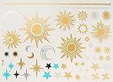 Metallic Tattoo Gold Silber Türkis Sonne Mond Sterne Schmuck Tattoo Kleber für Körper Nr.290