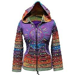 SHOPOHOLIC FASHION - Sudadera con capucha, diseño hippy con rayas, multicolor morado morado X-Large
