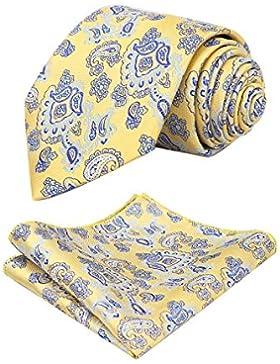 Alizeal Multicolor-Juego de Corbata y Pañuelo para Hombre