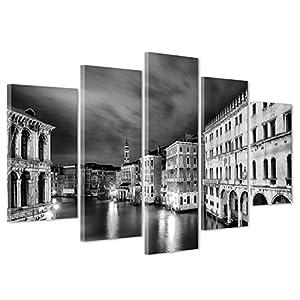 QUADRO SU TELA CANVAS - INTELAIATO - PRONTO DA APPENDERE - Venezia Bianco e Nero Fotografia - 170x86cm (cod.3388)