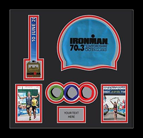 Kwik Picture Framing Ltd Ironman Staffordshire 70.3 Triathlon Marathon, Running Medal Swimming caps Display Frame, Black Mount - Black Frame