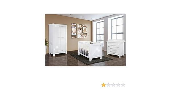 Babyzimmer 4 Tlg. Enni Mit 2 Türigem Kleiderschrankin In Weiß Hochglanz:  Amazon.de: Baby