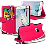Spyrox ( Hot Pink ) Samsung Galaxy S6 Edge Hülle Abdeckung Cover Case schutzhülle Tasche Stylish Fitted BookStyle PU Leder Tasche Flip mit Credit / Debit Card Slot Case Hülle mit LCD Screen Protector Guard, Poliertuch, Aluminium In Ear Ohrhörer Stereo Freisprecheinrichtung Ohrhörer & Mini Retractable Stylus Pen