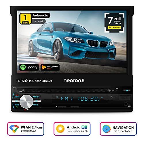 NEOTONE NDX-150A | universelles 1DIN Autoradio | Navigation mit Europakarten 2019 | DAB+ Unterstützung | DVD | 7 Zoll | 16GB inkl | WLAN | Bluetooth | OBD 2 | USB