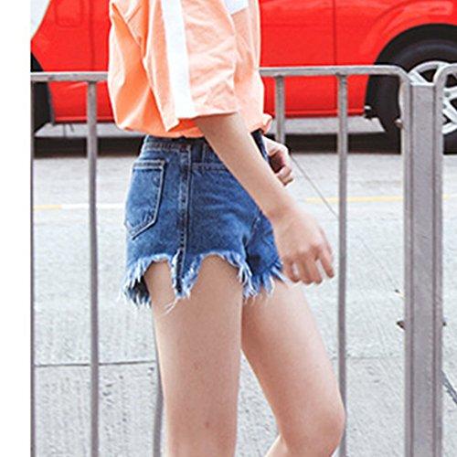 Femmes Vintage De Taille Haute Tassel Denim Shorts Court Jeans Bleu