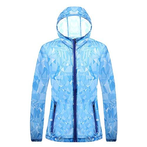 Crazboy Männer Druck Langarm Sonnenschutz Reißverschluss Kapuzenpulli Pullover Tops Bluse(Hellblau-A,Hellblau-A)