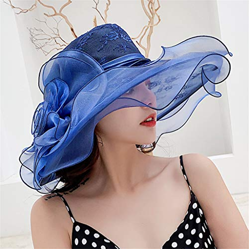 ToDIDAF FY28 Kentucky Derby Hat for Women, Organza Church Dress, Bowler Hat, Sun Hat, Wedding Hat, Fascinator Bridal Tea Party Shopping Formal Occassion Outdoor Activities, 57CM (Navy) Old Navy Bow Tie