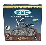 KMC X8 EcoProteQ (Anti-Rost) 8-Fach Kette // 116 Glieder, Dimension:1/2×3/32´´, Ausführung:Silber