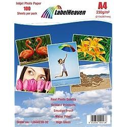 LabelHeaven LH-A4230-32 Lot de 100 feuilles de papier photo 230 g/m² Format A4