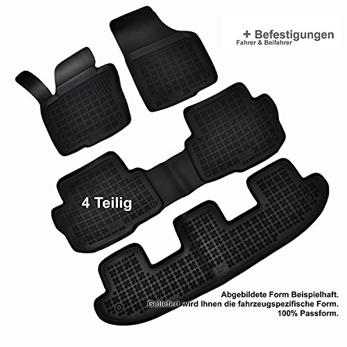 AME - Auto-Gummimatten Fußmatten mit Schmutzrand, Geruch-vermindert und passgenau mit Befestigungskit 200112RG