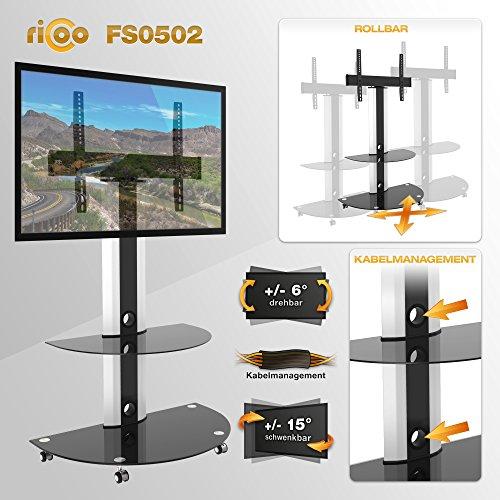 RICOO LCD TV Ständer FS0502 Standfuss Glas Standfuß Fernsehstand LED Fernseher Stand Halterung Schwenkbar Drehbar mit Rollen Möbel Rack max. VESA 400×400 Universal inkl. DVD Receiver Glas Regal Ablage - 2